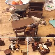I was lucky to find some chunky old furniture. The Maileg mice seem to ...