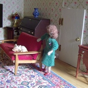 Her sitting room is kept very tidy - she can't bear mess.