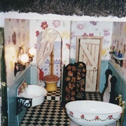 An early bathroom I did in a thatched cottage. Half a metal easter egg ...