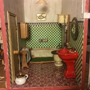 The bathroom I made in Gibson House. I love the red sink that I found ...