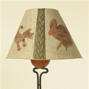 Standard lamp and shade, painted with a bird and a dog.