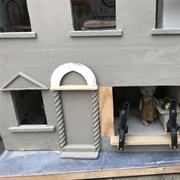 Filled in the left hand door to make a window and filled the sides of ...