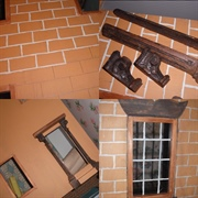 Hand painted bricks and some mouldings from an old cupboard door and ...