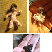 Crocheted dolls/teddy from the teenager's childhood