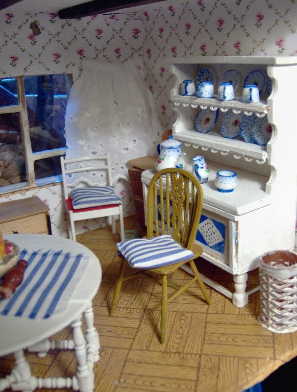 The pretty blue and white parlour