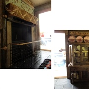 A closer look at the fireplace area so far and the dresser/sideboard