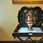 Lanhydrock - the butler's tray, the tea urn, and japanned ...