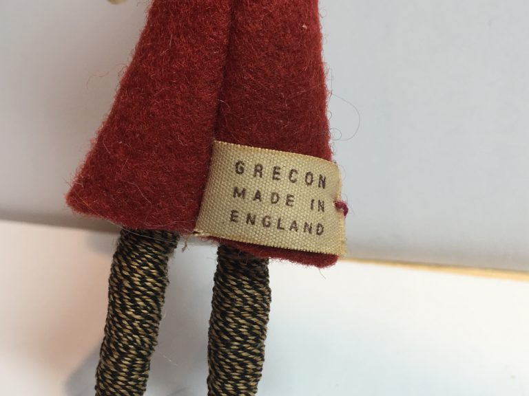 1940s label on a Grecon doll.