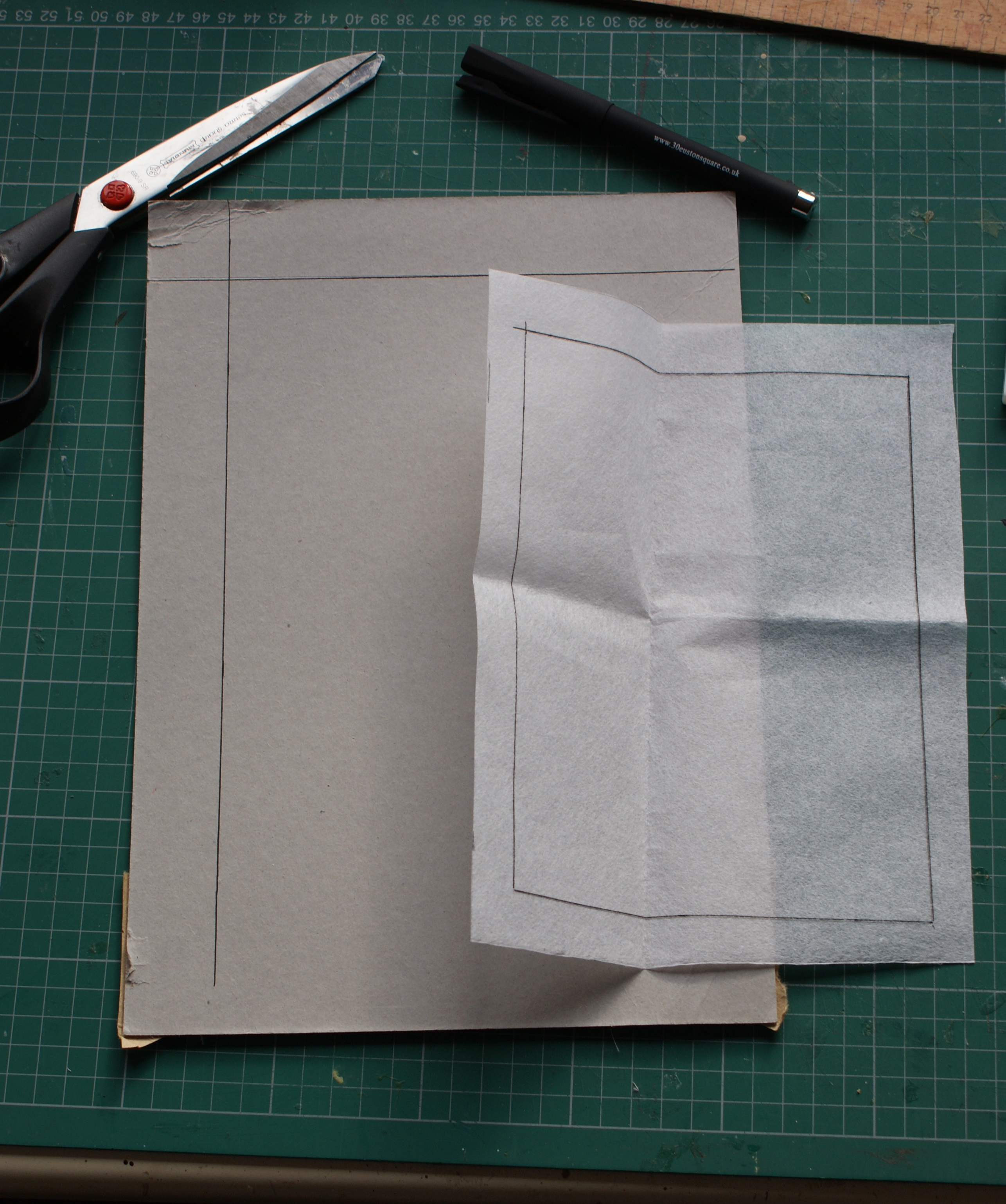 Lines drawn on card and interfacing.