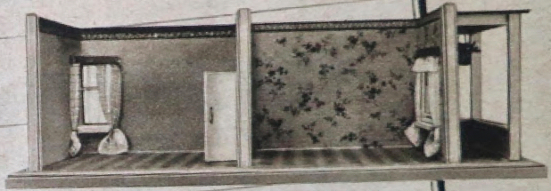 1930s Schönherr greyscale ad for 2 room roombox with solid door and different patio