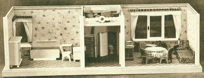 1952 Schönherr catalogue image of 3 room roombox, the central section with an enclosed toilet under stairs to a roof terrace