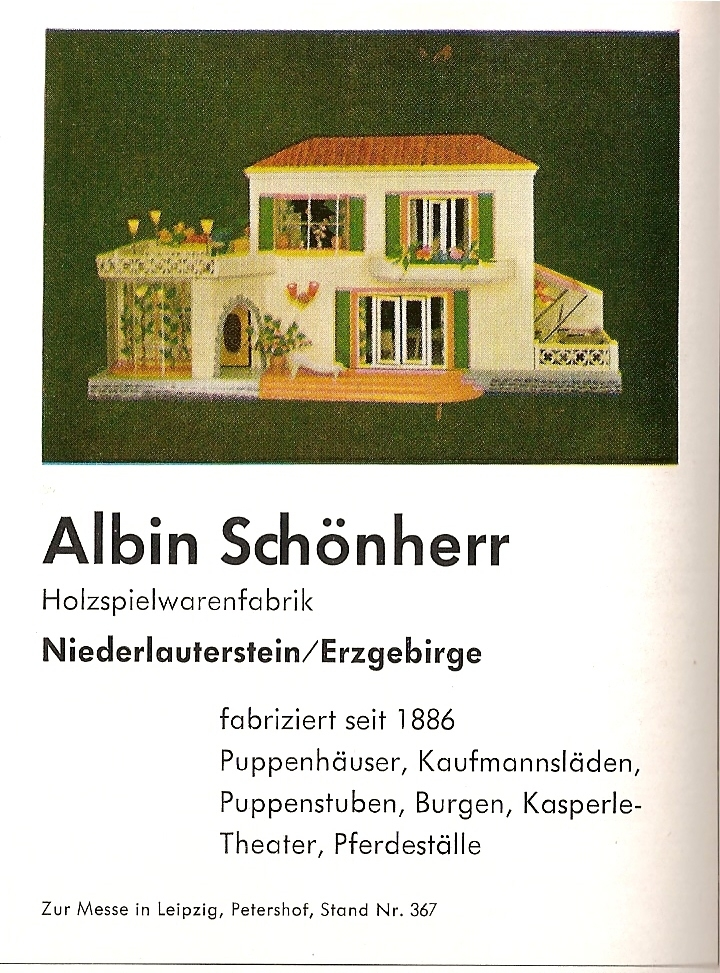 Schönherr ad in toy trade magazine in 1959 showing large dolls house with garden, wintergarden and roof terrace