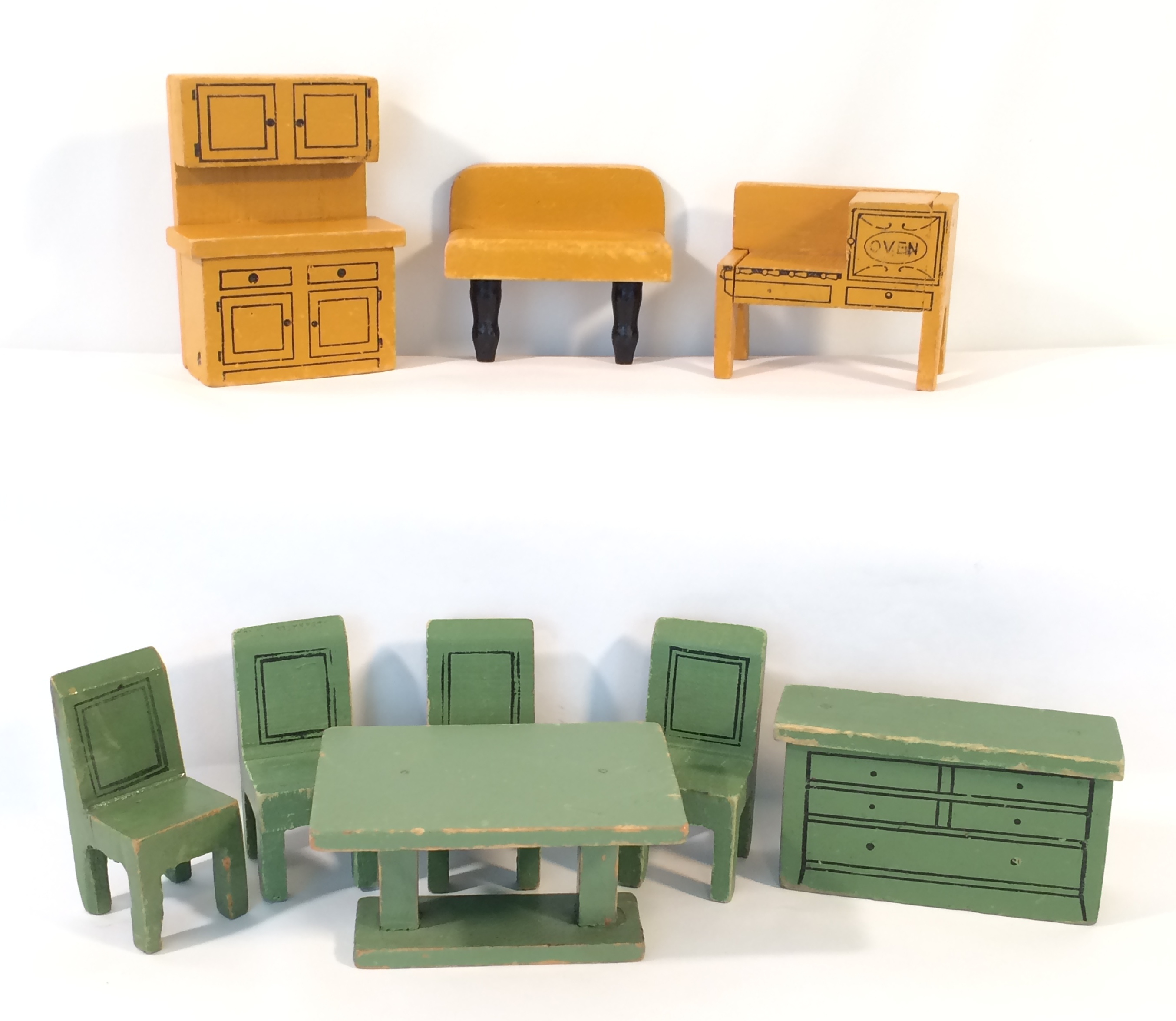 Jaymar yellow kitchen set and green dining room set