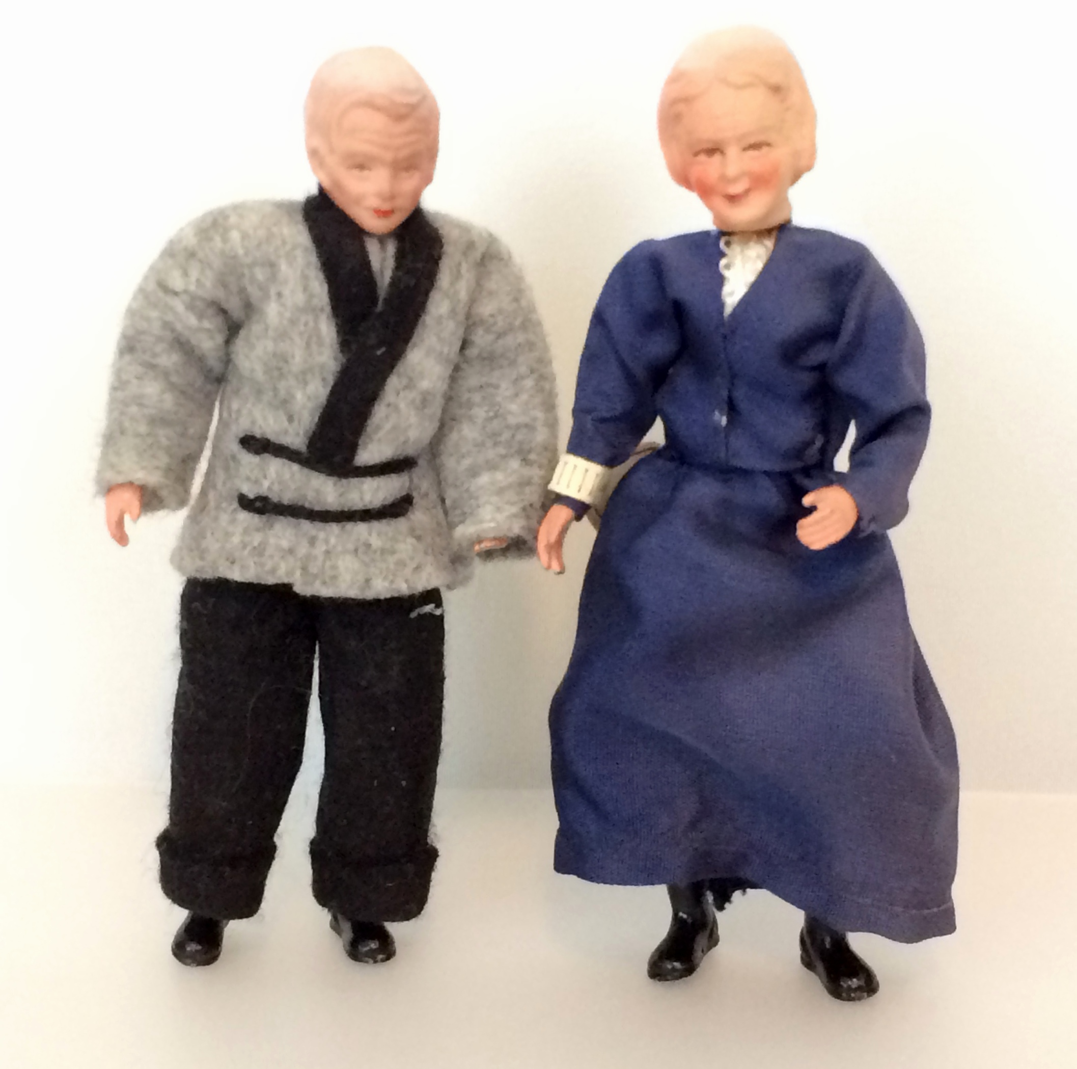 Caco grandfather and grandmother dolls ca 1950s or 60s from house above