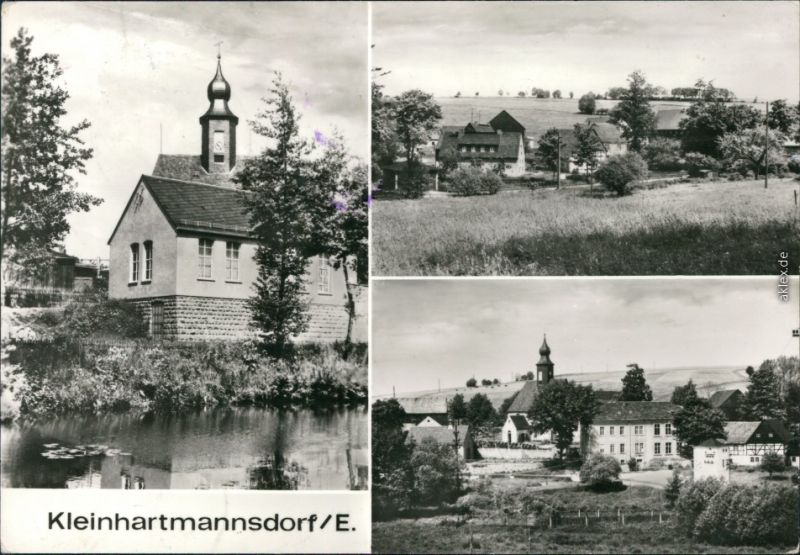 Black and white postcard with three views of Kleinhartmannsdorf in 1979