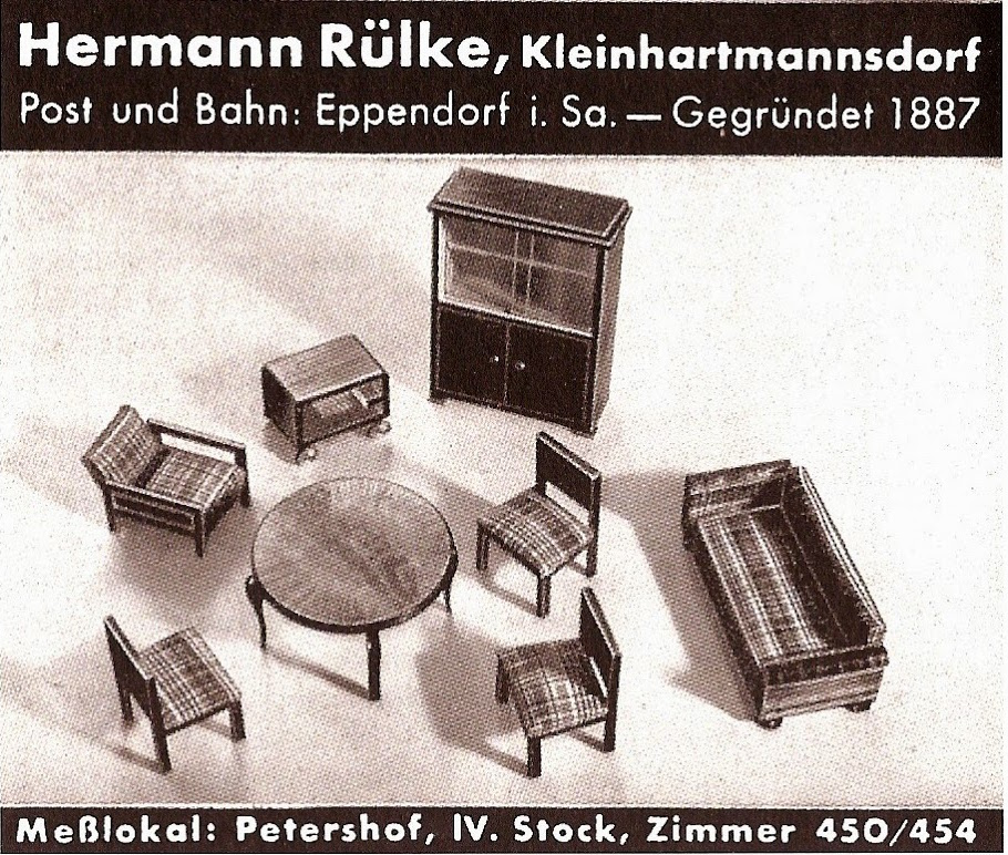 Rülke ad in Das Spielzeug 1938 showing living room furniture