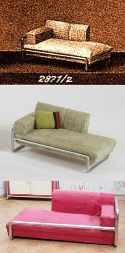 Tubular steel framed couches, catalogue pic and two examples