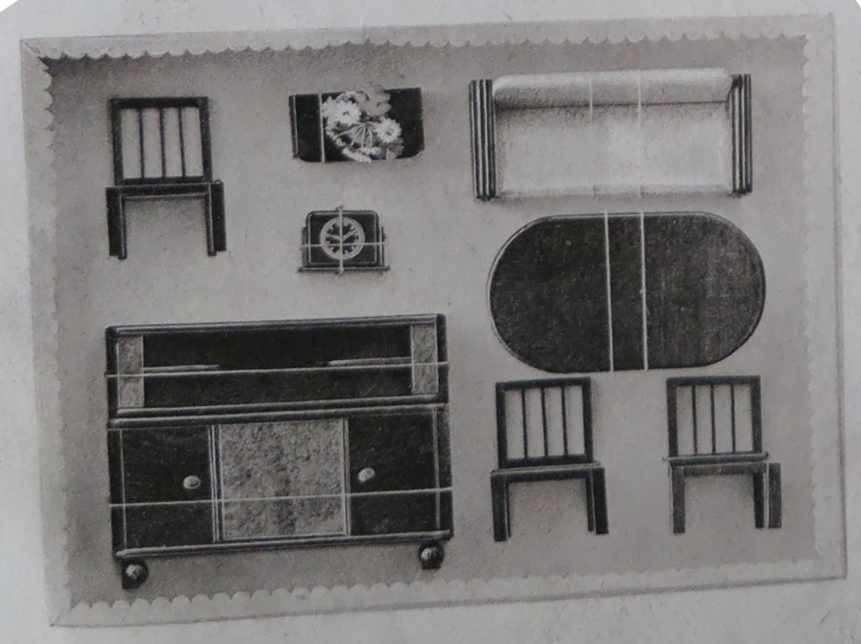 Circa 1950 catalogue photo of boxed Rülke living room set 1
