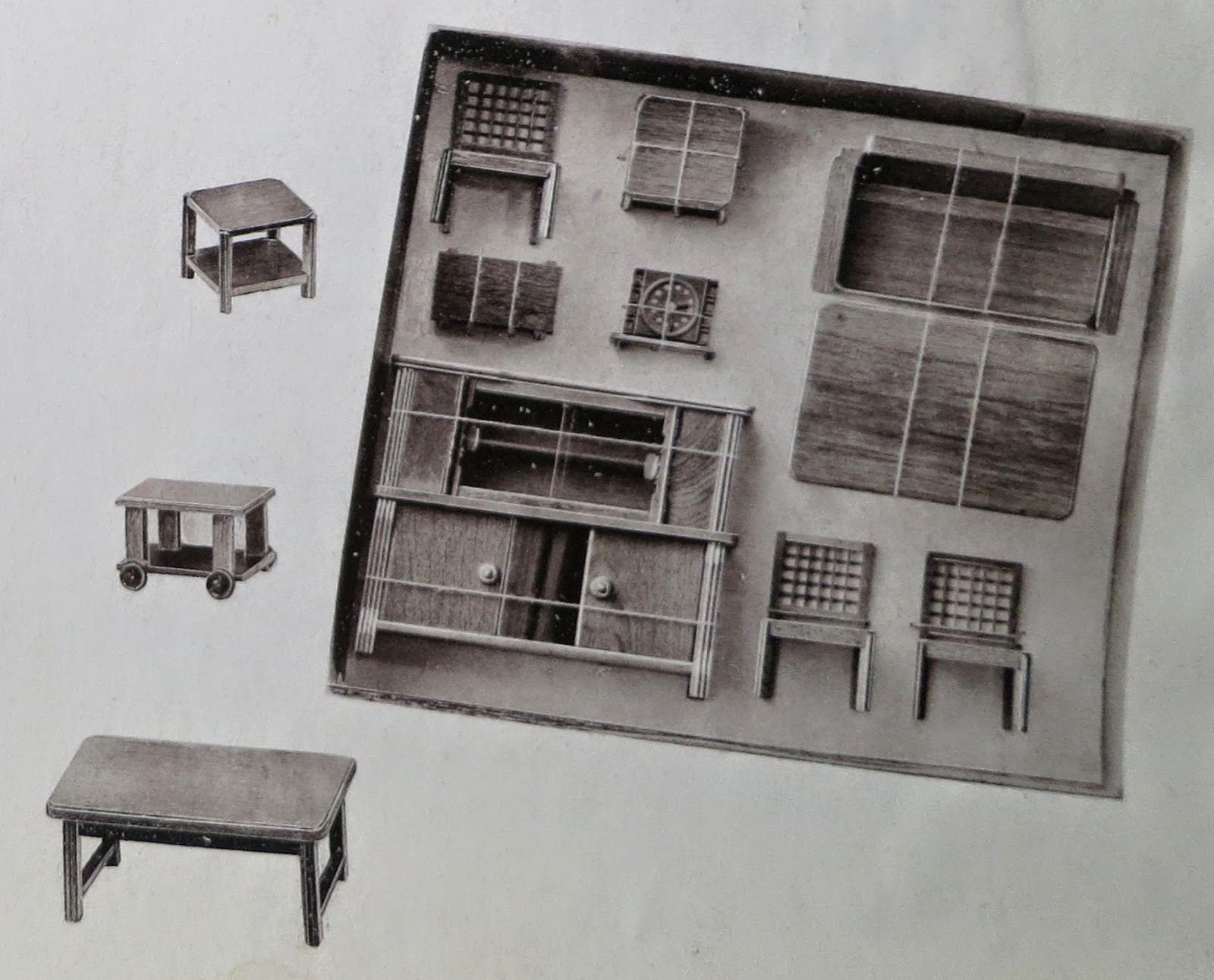 Greyscale catalogue photo of Rülke living room set ca 1950