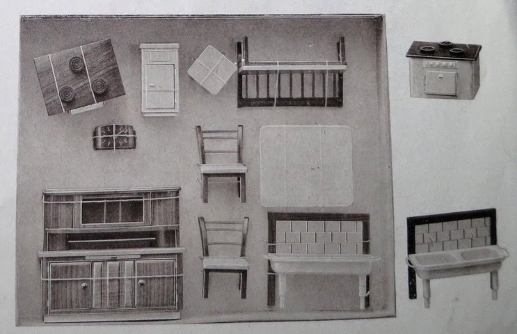 1950 greyscale catalogue pic of Rülke kitchen set