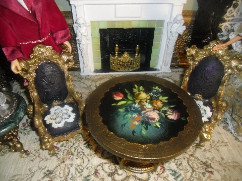 Fireplace and table in 6th scale Victorian style drawing room