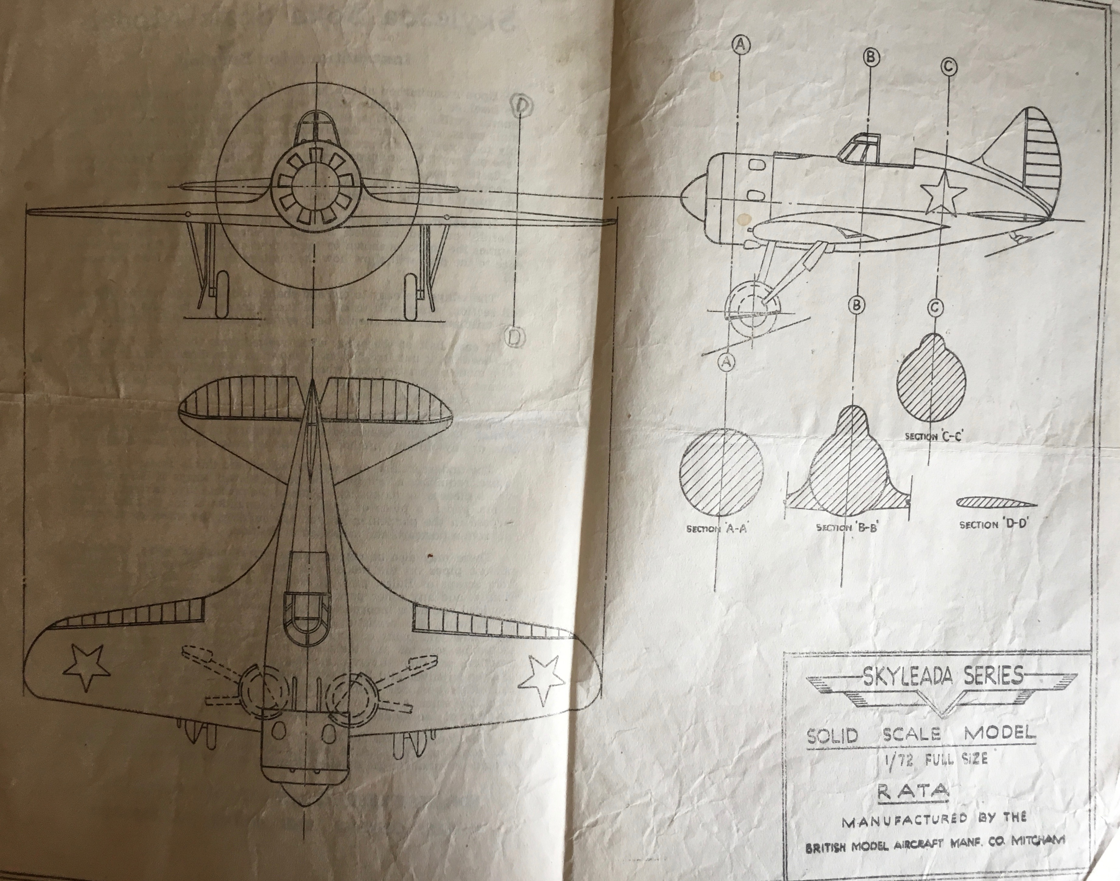 Scale drawing of one of Cliff's model aircraft.