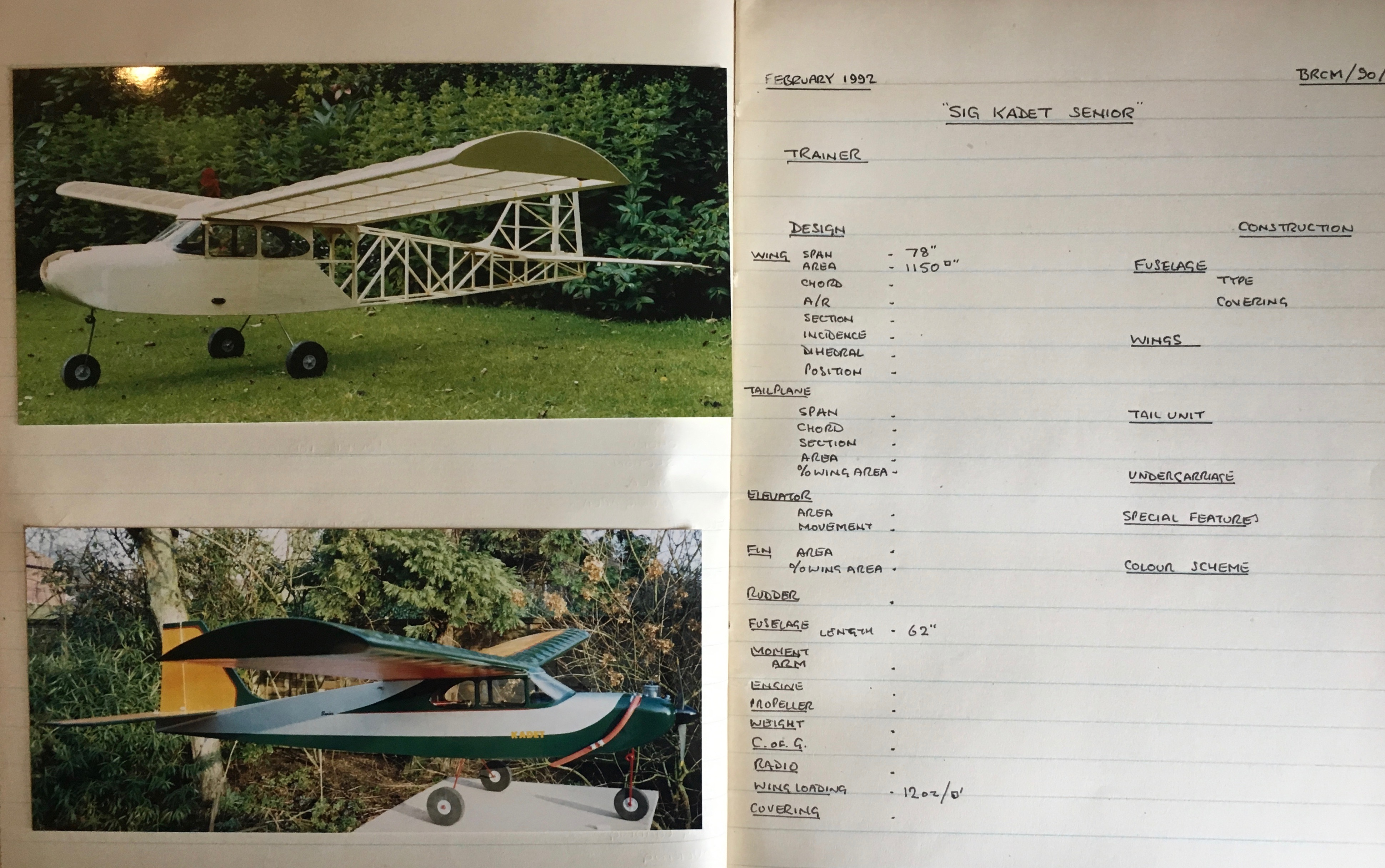 Cliff's photos and handwritten details of model aircraft he as designed and or built.