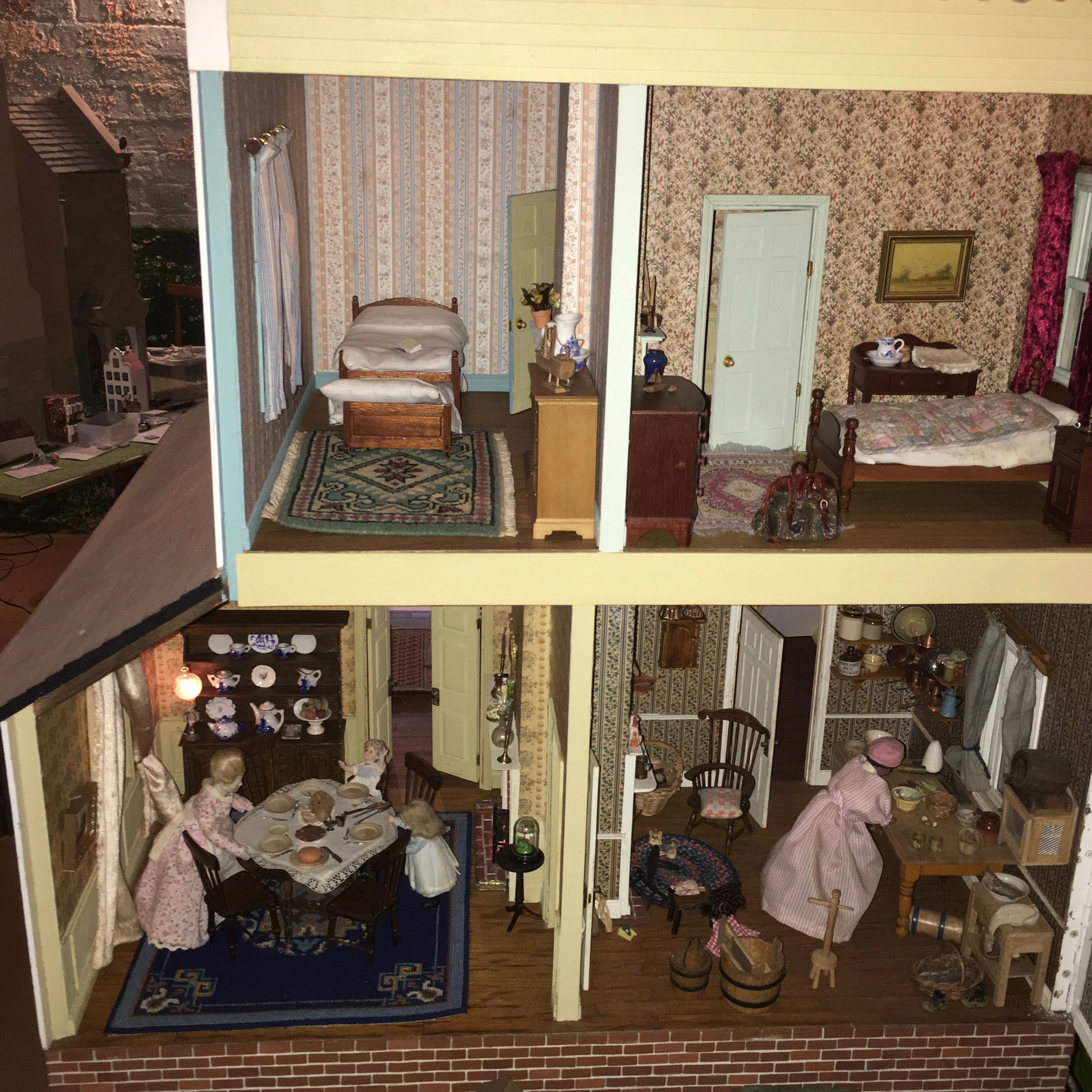 Part of the interior of the American house that Cliff builds from kit plans and a photos