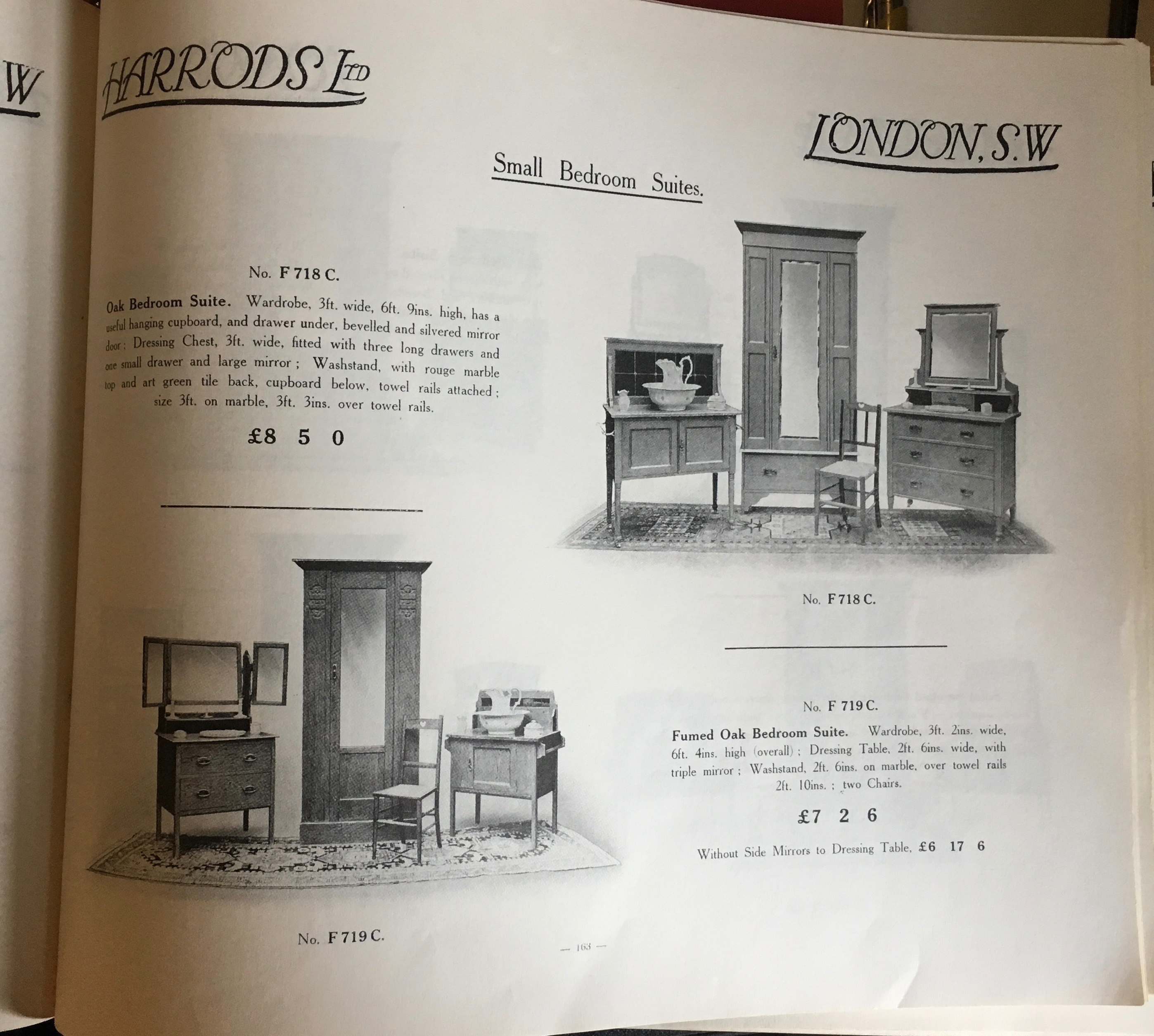 Page from and Edwardian Harrods' catalogue showing bedroom suites.