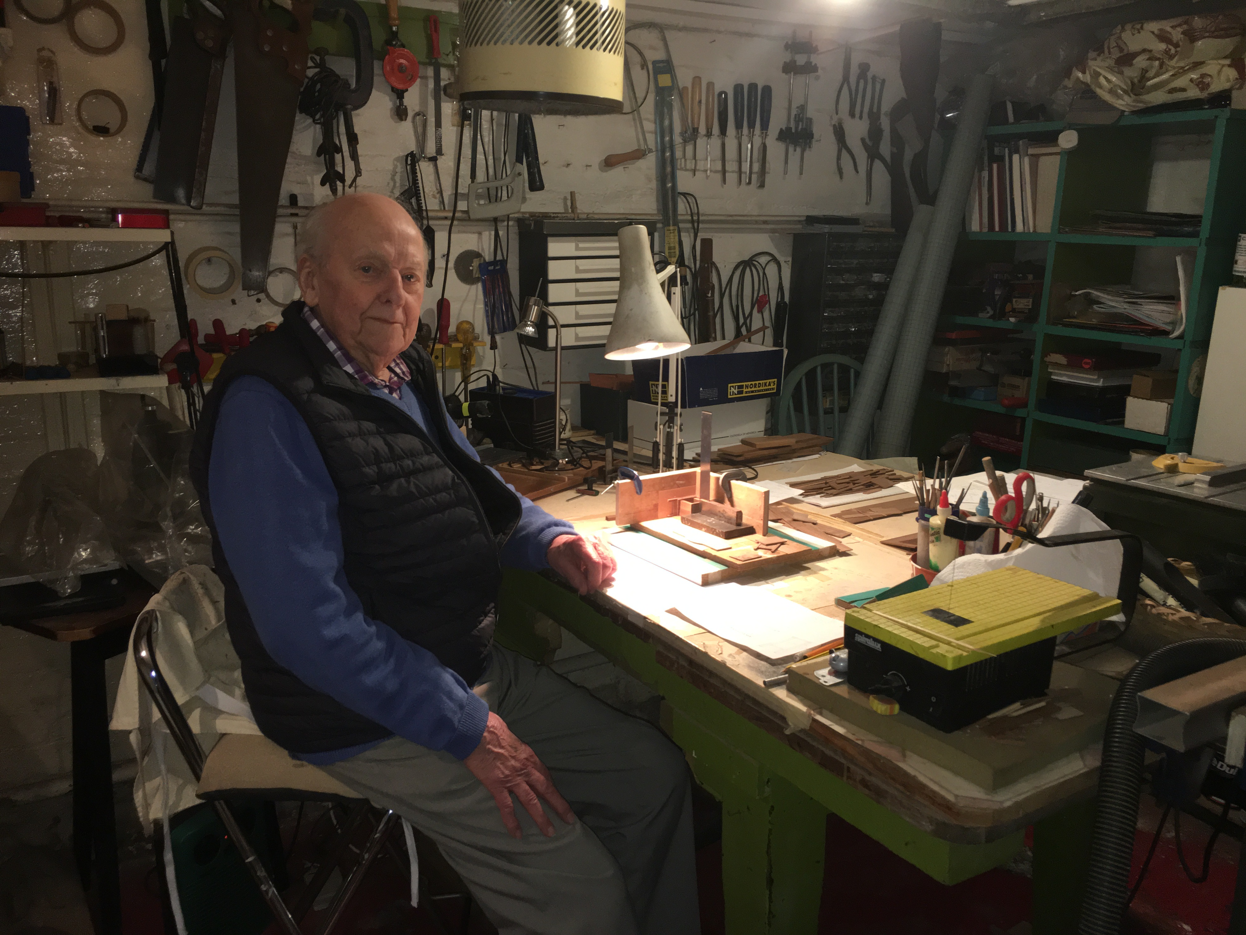 Cliff in his workshop in January, 2020.