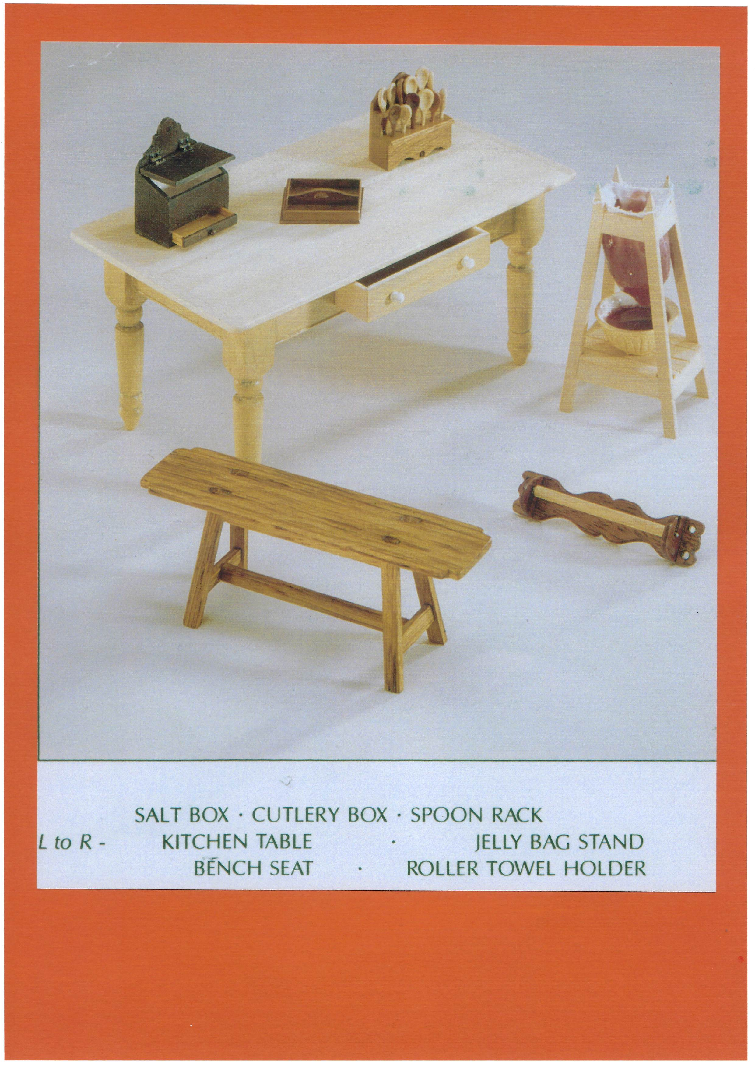 Wooden kitchen items by Cliff Brown, including his best selling spoon rack and jelly bag stand.
